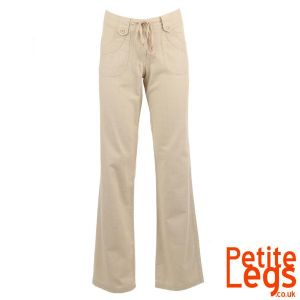 Anya Relaxed / Wide Straight Leg Linen Trousers in Stone | UK Size 8/10 | Petite Inseam Select:  24 - 30 inches